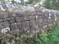 Castle Carrock reservoir wall built from shaped stones