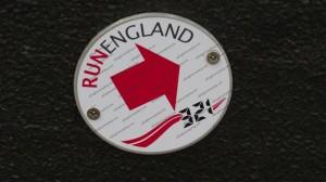 Marker plate for Run England 321 around Carlisle, Cumbria