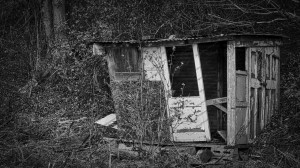 Dilapidated summer house near River Eden