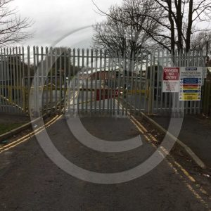Tall metal barriers prevent access to Sheepmount Area of Carlisle